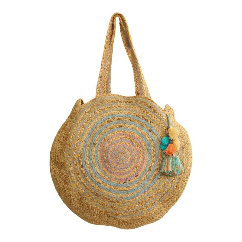 Ronde gevlochten tas  'Las Dalias' groot