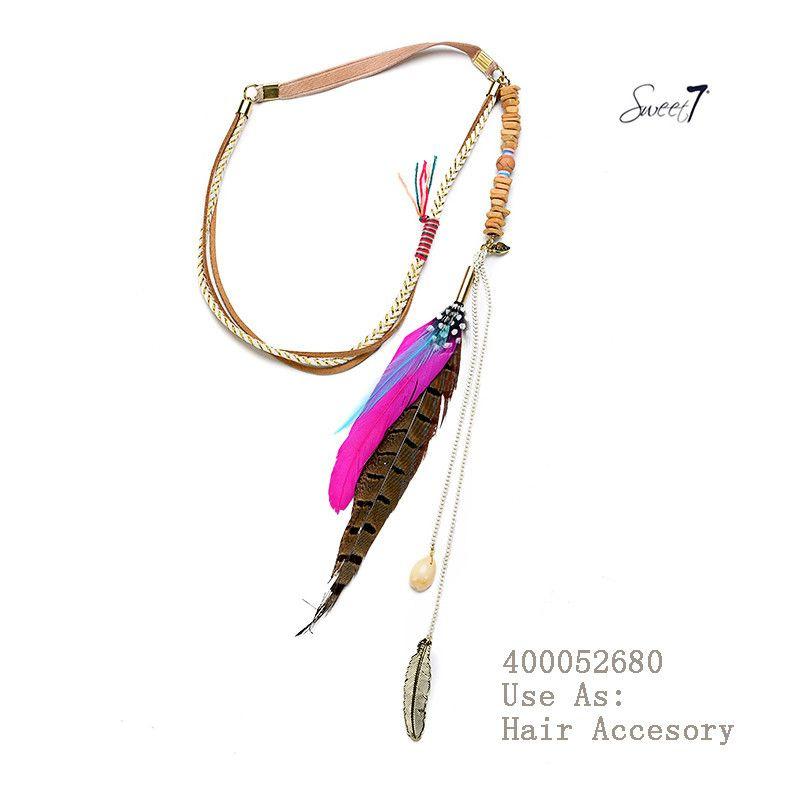 Haarbandje 'Pink feather'