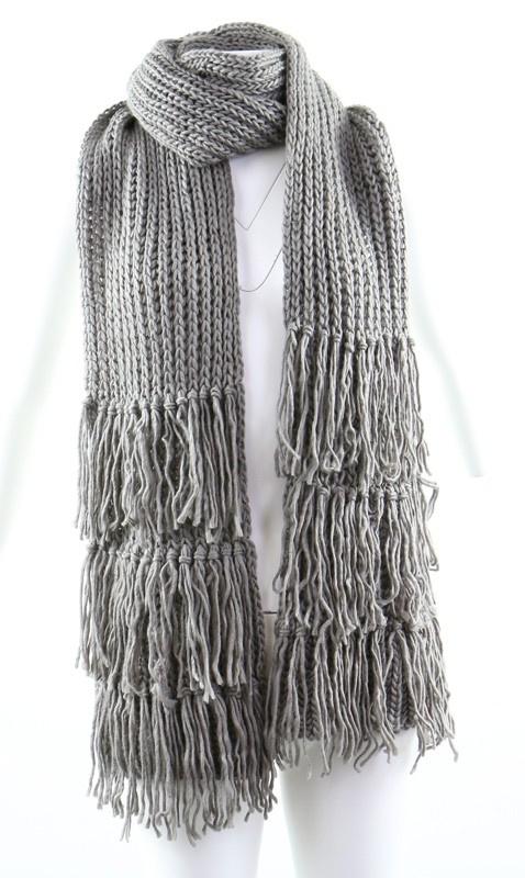 Sjaal 'Fringe' grijs
