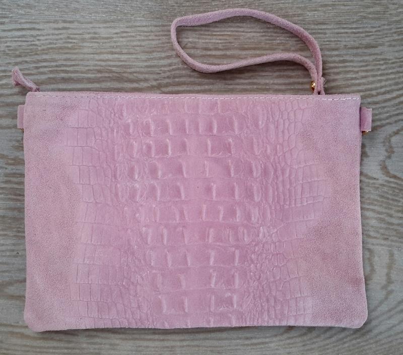 Clutch echt leer met croco effect roze