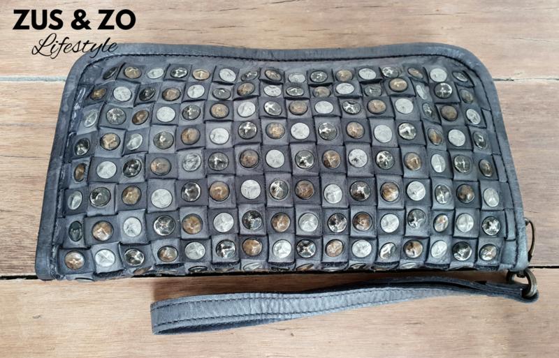 Portemonnee - clutch 'Vintage Studs' antaciet