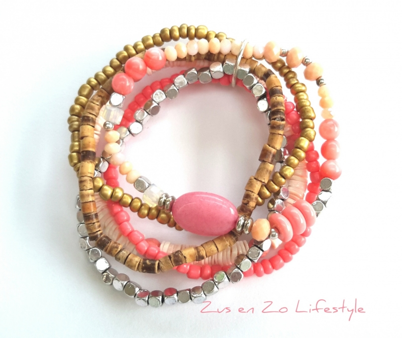 Setje armbandjes 'Flamingo pink'