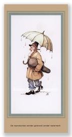 Violist onder paraplu