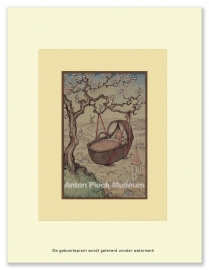Baby in wieg aan boom