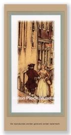 Amsterdam, man begroet winkelende vrouw (Unieke Amsterdam collectie)