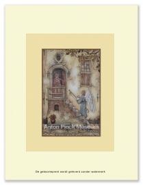 Engel brengt baby naar een huis