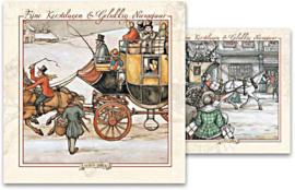 Kerstkaart in doosje motief Koets en Kerstbezoek