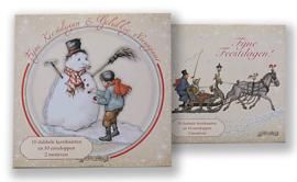 Kerstkaart in doosje motief Sneeuwpop - Koets