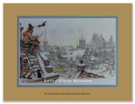 Schilder op dak (Winter) (grootformaat)