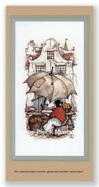 Sinasappelvrouwtje en grote paraplu