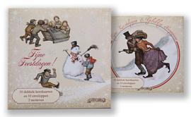 Kerstkaart in doosje motief Op het ijs - Schaatsen