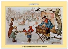 Man met orgel op ijs