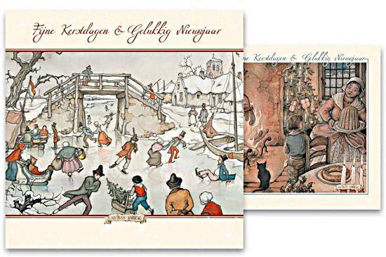Kerstkaart in doosje motief Kerstavond en Schaatspret