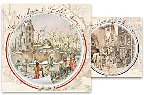 Kerstkaart in doosje motief Schaatsen bij kasteel - Kerstinkopen