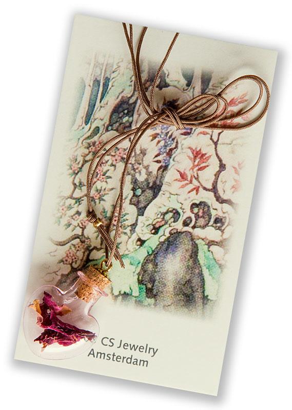 Halsketting Flesje met gedroogde rozen
