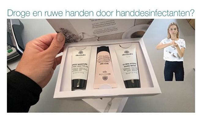Ruwe en droge handen door gebruik handdesinfectanten?
