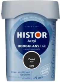 5 x Histor Perfect Finish hoogglans acryl lak Zwart (6372) - 0,75 Liter