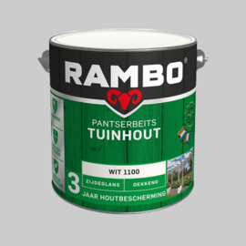 Rambo Pantsersbeits Tuinhout zijdeglans wit 1100 - 2,5 Liter