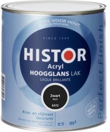 5 x Histor Perfect Finish hoogglans acryl lak Zwart (RAL 9005) - 0,75 Liter