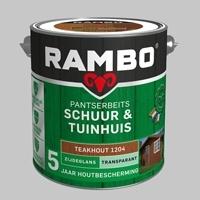 Rambo Schuur & Tuinhuis Pantserbeits TRANSPARANT Teakhout 1204 Zijdeglans - 2,5 Liter