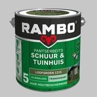 Rambo Schuur & Tuinhuis Pantserbeits TRANSPARANT Loofgroen 1215 Zijdeglans - 2,5 Liter