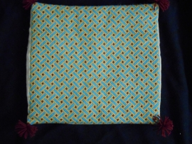 Pillow yellow with blue bars