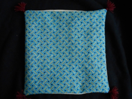 Pillow blue with yellow bars