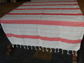 Multiple stripe red tablecloth