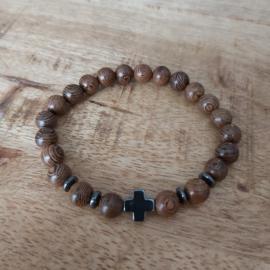 Houten kralen met hematite kruis H015