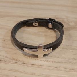 A044 armband leer met schuiver