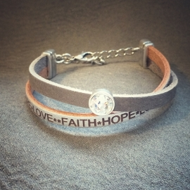 Faith hope love taupe/zilver A025