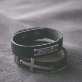 Heren armband met tag  zwart H019-1