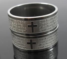 "Ring RVS kruis ""onze Vader"" Engels R003"
