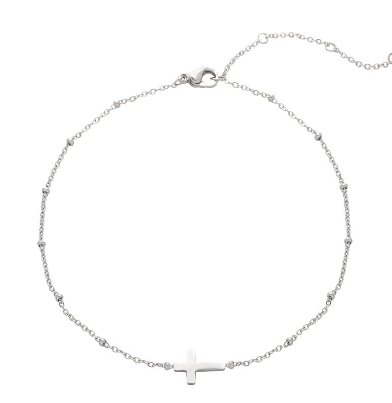EB001 enkelbandje kruisje zilver