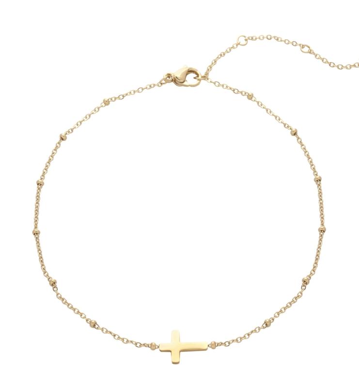 EB002 enkelbandje  kruisje goud