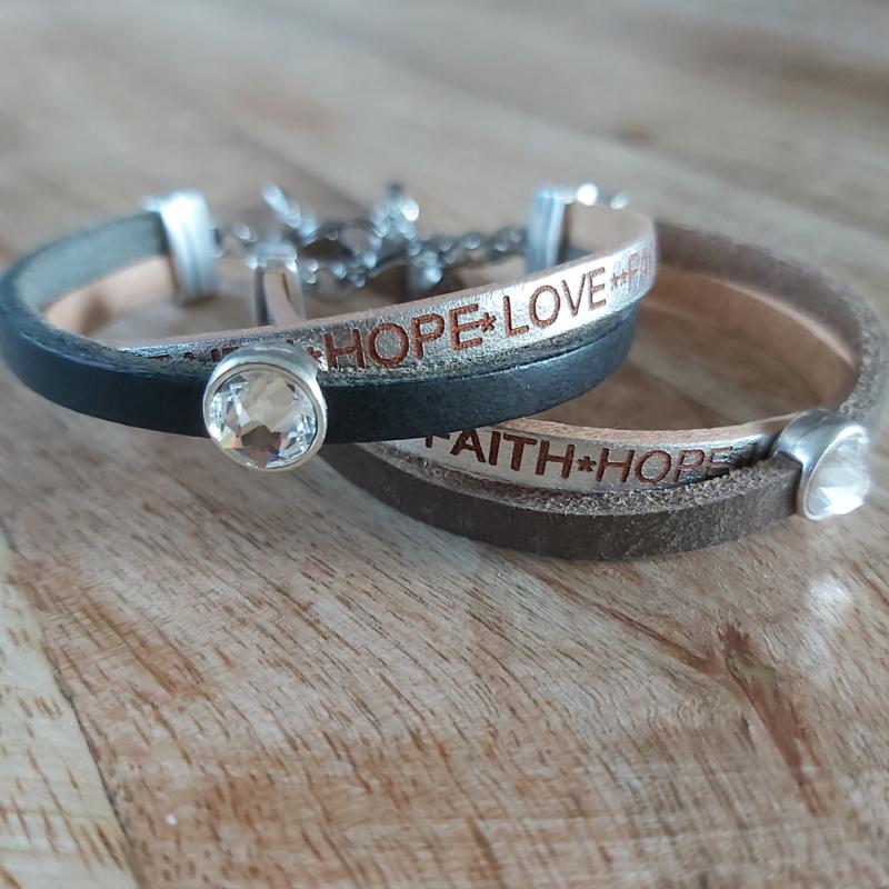Faith hope love zwart /taupe  A026