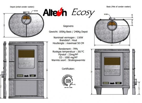 Tekening Altech Ecosy depot houtkachel