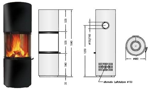 Tekening houtkachel Spartherm Passo L
