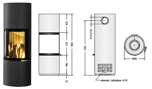 Tekening houtkachel Spartherm S