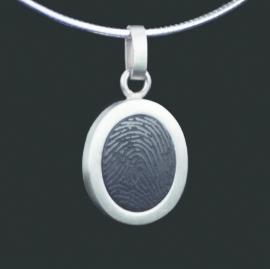Ovale vingerafdruk hanger met steen - 0204-00