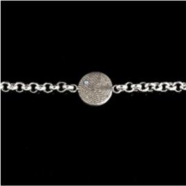 0324-01 Ronde vingerafdruk armband met Zirkonia