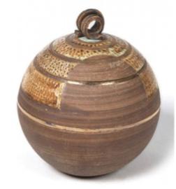 Mini urn keramiek bol bruin
