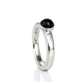1146-00 Ring met 5mm glazen steen met as