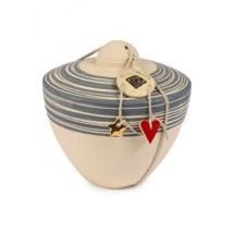 Handgemaakte mini urn 'Tolos Rigatte' Gray Slib
