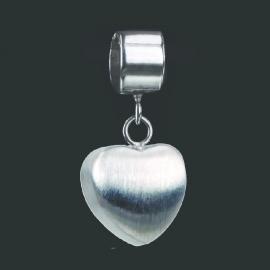 Zilveren pandora/trollbead kraal met hartvormige bedel - 1009-00