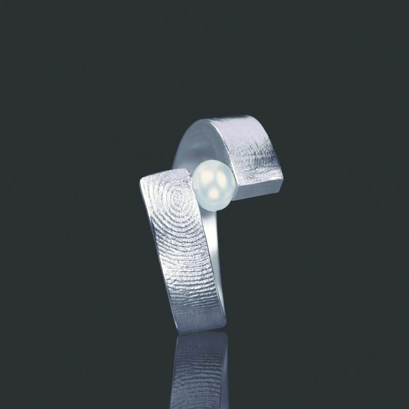 Vingerafdruk ring met 3mm zoetwaterparel - Z0102-20