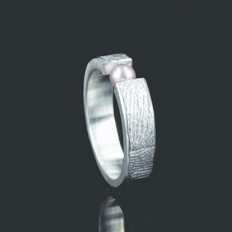 Vingerafdruk ring met 3mm zoetwaterparel - Z0101-20