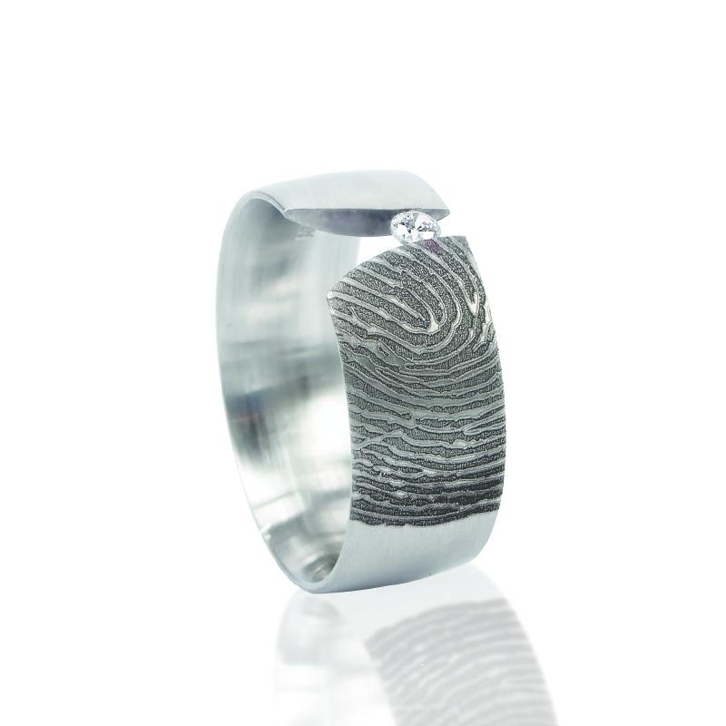 Vingerafdruk ring met zirkonia 2.3mm - R0116-00