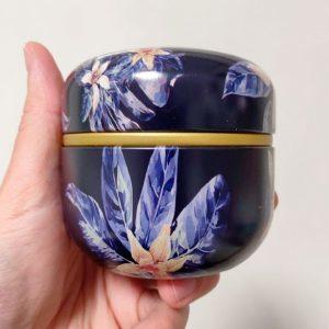 Mini urn aluminium zwart bloemen potje