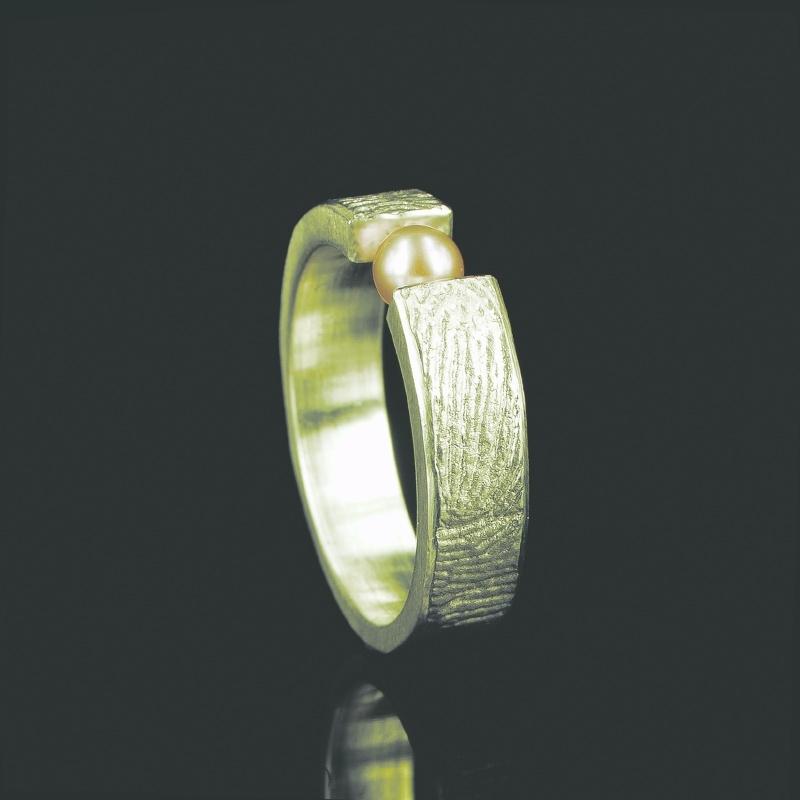 Vingerafdruk ring met 3mm zoetwaterparel - G0101-20